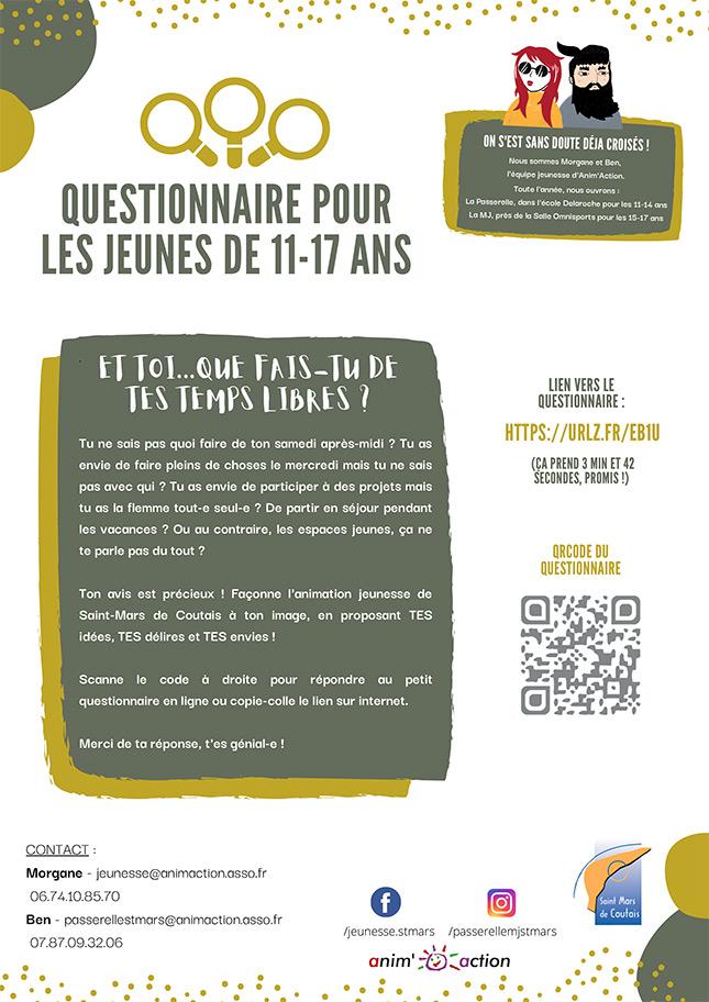 Flyer Questionnaire Jeunes St mars de coutais 44680