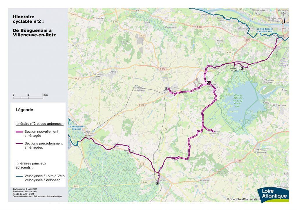 carte itinéraire vélo Villeneuve en Retz - Bouguenais